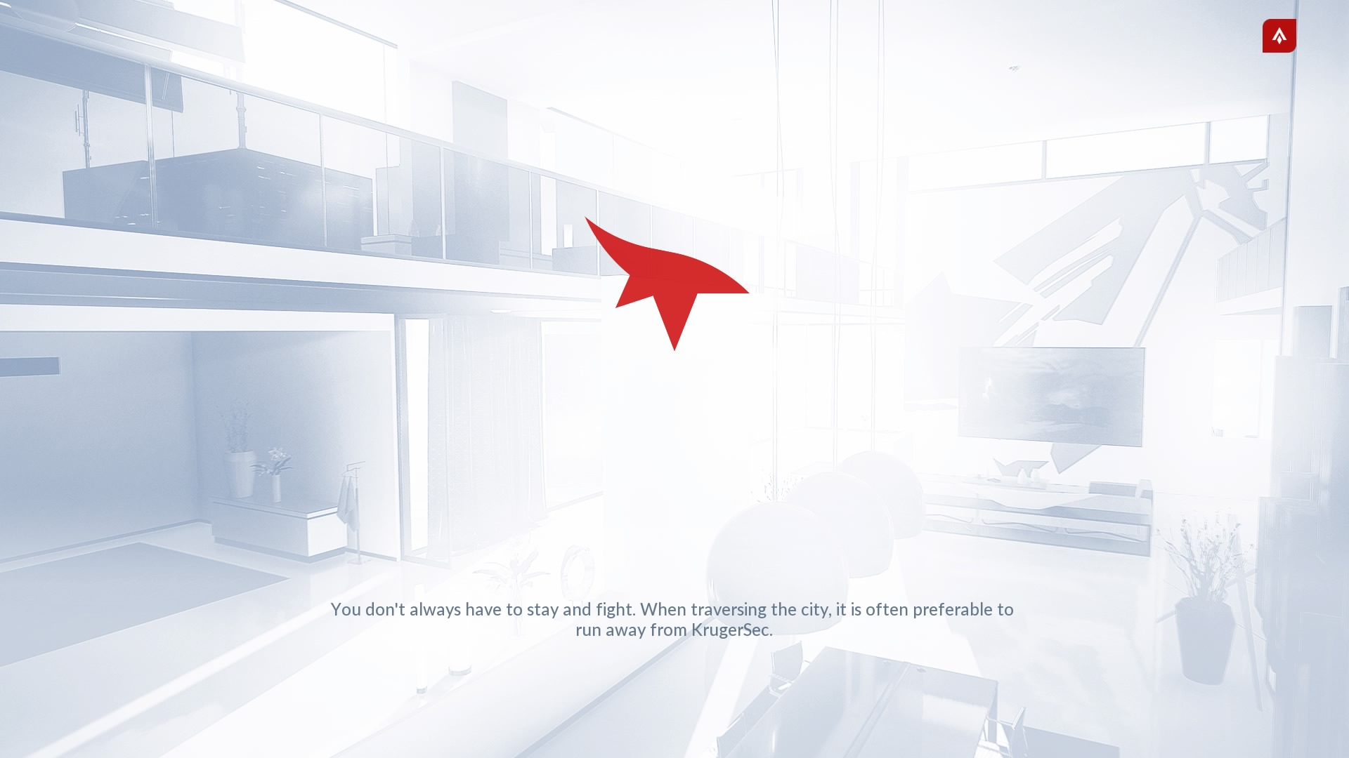 mirrors edge catalyst - loading screen saying it is often preferable to run away than fight