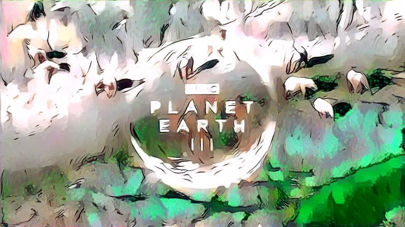 Planet Earth III title screen styled with Princess Mononoke