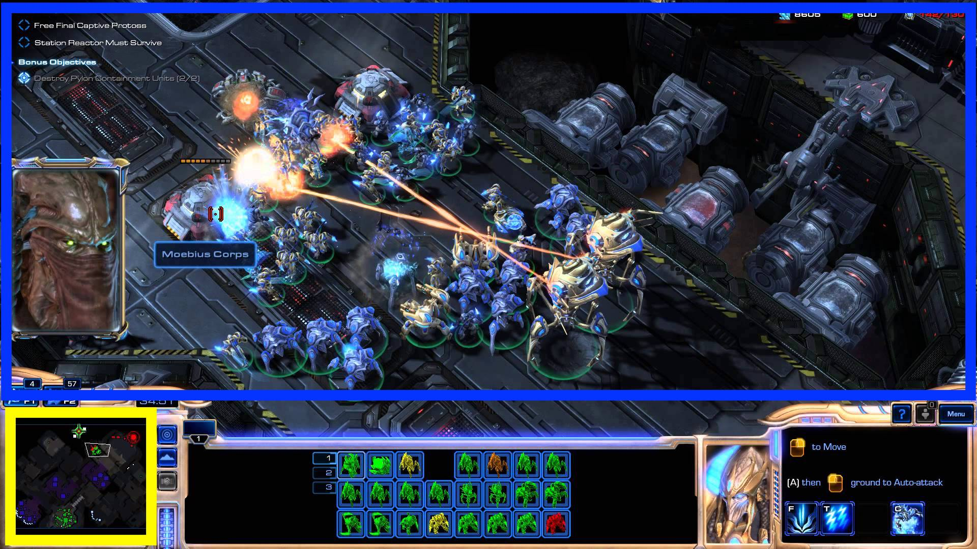 screenshot of starcraft where the main game window is highlighter in blue and the minimap highlighted in yellow